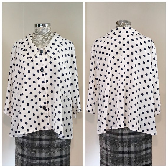 90's Silky A-Line Shape Navy & White Polka Dot Lovely Blouse - Loose Light Airy - One Size Fits