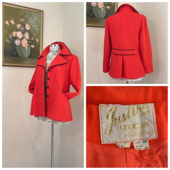 60's MOD Fire Engine Red Wool Coat by Justina of Melbourne - Satin Lined, Navy Trim & Buttons - Australian True Vintage - AUS 14 / Medium