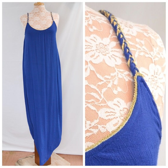 Royal Blue w/ Gold Braided Spaghetti Straps -Summer Soft & Loose Maxi - Ankle Duster - Travel, Beach Holiday - MED