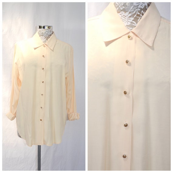Lovely 90's Blouse in Buttery Cream Viscose by Katies Australia - Loose Fit, Long Length - One Size Fits Most - AUS 14