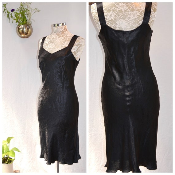 80's Skinny Black Satin Slip Dress. Blackest Black - Smooth Satin, Soft Silky Touch - Simple & Sexy - Made in Australia - SM, MED - AUS 12