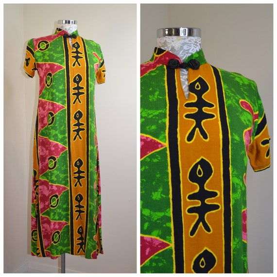 Primitive Abstract Tribal Bali Dress - Bright Batik Print on Rayon - Long Loose Draping, Soft, Comfortable and Elegant. Sz Small