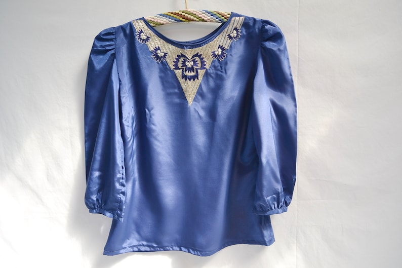 Cropped Short Gorgeous Embellished Ethnic Beaded Top w Puff Sleeves XS