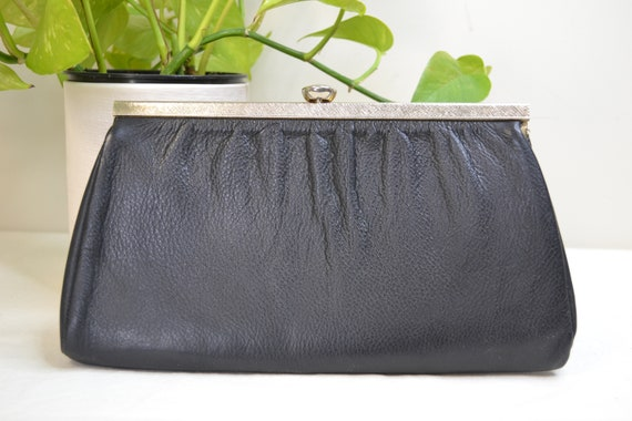 Stunning 1960's Matte Black Real Leather Clutch w/ Gold Tone Clasp Hardware - Mod Minimalist Simple, High Quality, Great Condition