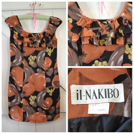 Lovely Japanese Vintage Dress - Sheer Chiffon in Fall Autumn Colors - Ruffle Front, Fully Lined, Made by il-Nakibo - XS or Small