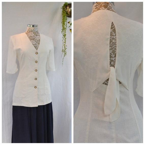 90's Cream Linen Blouse w/ Sheer Chiffon Sleeves and Open Back Cutout - Beautiful Buttons, Long Tunic Length - Feminine Back Detail - Small
