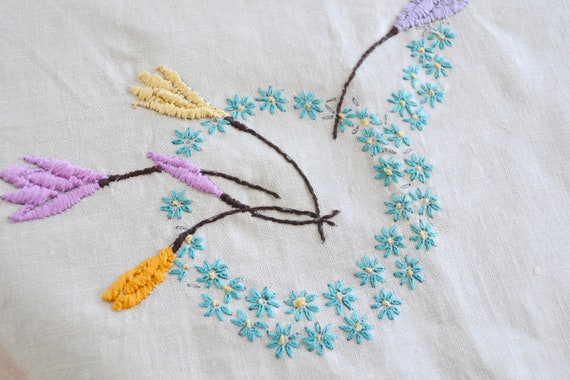 Deadstock Vintage Linen Embroidered Table Cloth - Crisp Natural Linen w/ Teal, Lavender, Yellow Embroidery - 1 metre Square