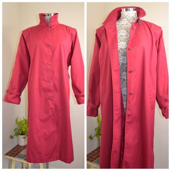 80's Cranberry Trench Coat w/ Fabulous Shoulder Details by New Edition - Water Resistant Vintage Burgundy Raincoat - Medium AUS 14