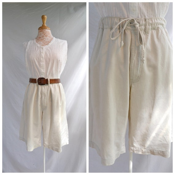 Vintage Saville Row Linen Cotton Long Shorts.  High Waisted Culottes - 90's Natural Earthy Preppy - Sz Small
