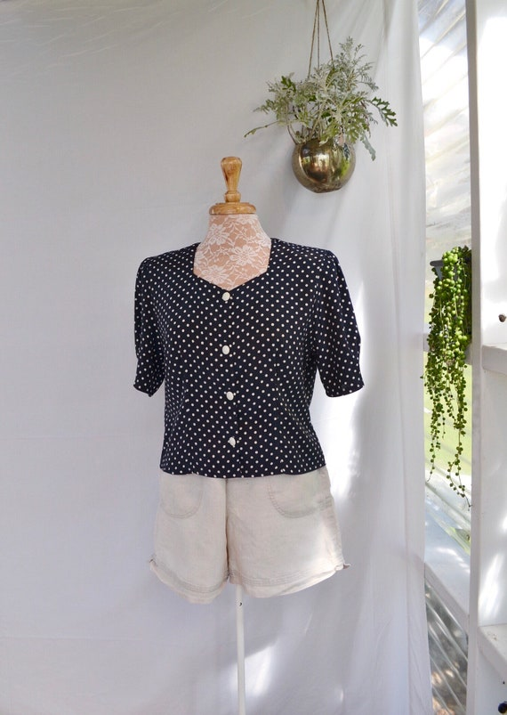 80's Boxy Cropped Satin Blouse - Navy White Polka Dot - UK 12 Petite