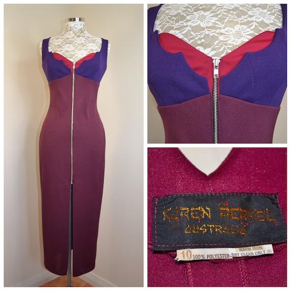 Deep Purple 70's Disco Prom Dress in Burgundy & Magenta - Full Zipper Front, Bust Detail - Hourglass Shape - Sz SM - AUS 10 - US 6