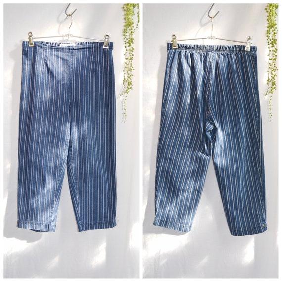 1990's Vertical Stripe Blue Ridge Denim High Waisted Short Capri Length - Elastic Waist  Super Stretchy - Dark Blue Stripe - Sm  Med AUS 12