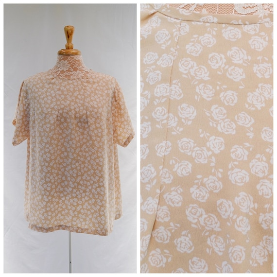 Lovely Vintage Handmade Mini Roses Tunic in Beige & White Floral.  Silky Satin Loose Fit - 90s Minimal Boxy Blouse - Large