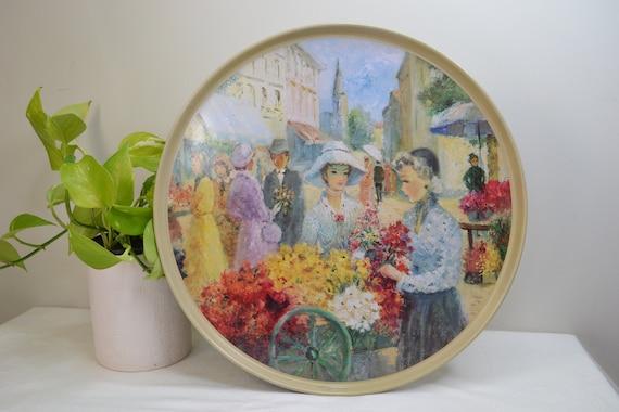 Victorian Flower Market Ladies Print on Large Round Metal Platter Tray by Willow Australia - 39 cm Diameter