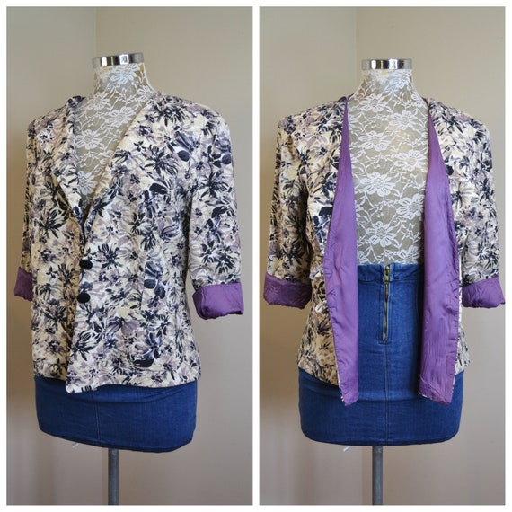 Handmade Violet Floral Linen Jacket, Soft Linen w/ Purple Lining, Front Pockets, Covered Buttons - Beautifully Made - Small, Medium