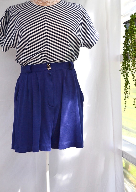 "60's Mod High Waisted 26""  - Made in Paris - Royal Blue Vintage Sophisticated Granny - Aus 10"