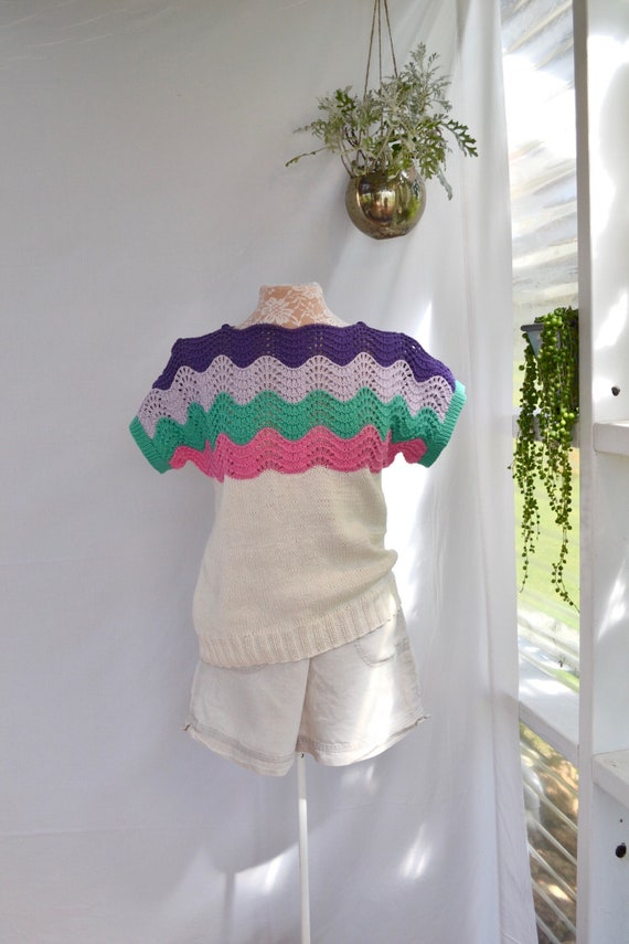 Crochet & Knit Combination Open Weave Thick Cotton Short Sleeve Sweater Shirt.  Cold Shoulder w/ Button Detail. Colorful Vintage