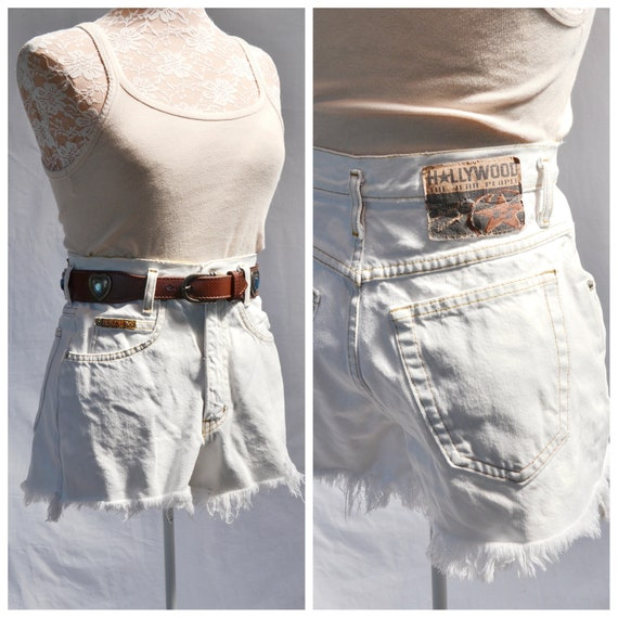 "90's High Waist Cutoff HOLLYWOOD Bleached White Denim Shorts - Frayed Hem- Sexy Distressed Booty Shorts - 27"" Waist"