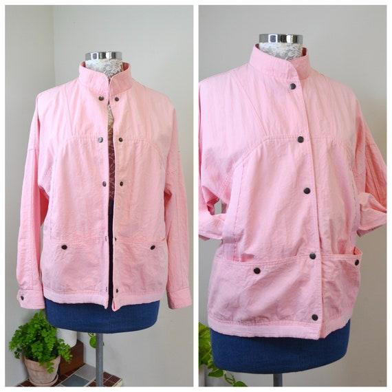 80's Bubblegum Pink Cotton Wind Breaker - High Collar, 4 Big Front Pockets - Vintage Unisex Wind Cheater - Medium AUS 14