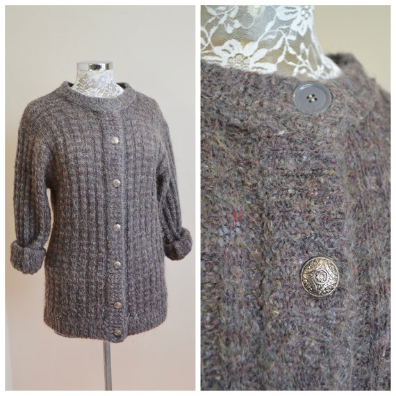 Vintage Woolly Grandpa Cardigan by Chantal Thomass Paris - Charcoal Grey Soft Nubby Wool - Mis Match Top Button - One Size Fits Most