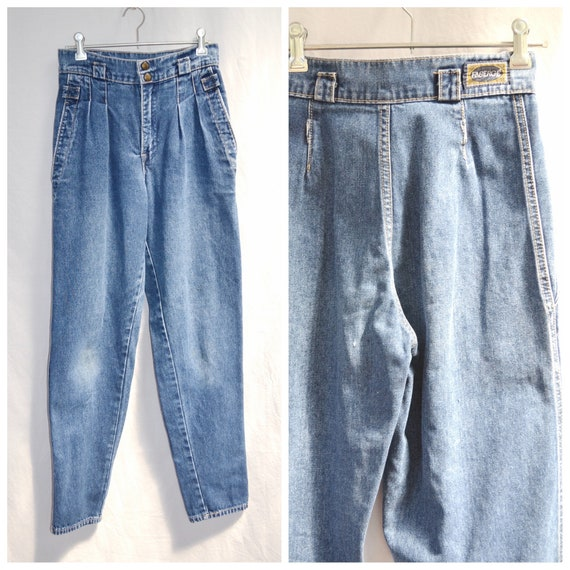 "1980's Faberge Denim - High Waisted Slight Tapered Ankle - Pleated Front, Soft Faded Medium Blue - 26"" Waist"