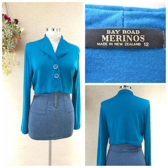 New Zealand Merino Wool Cardigan in Bright Teal Blue Green - Cropped Super Short by Bay Road Merinos - Small AUS 12