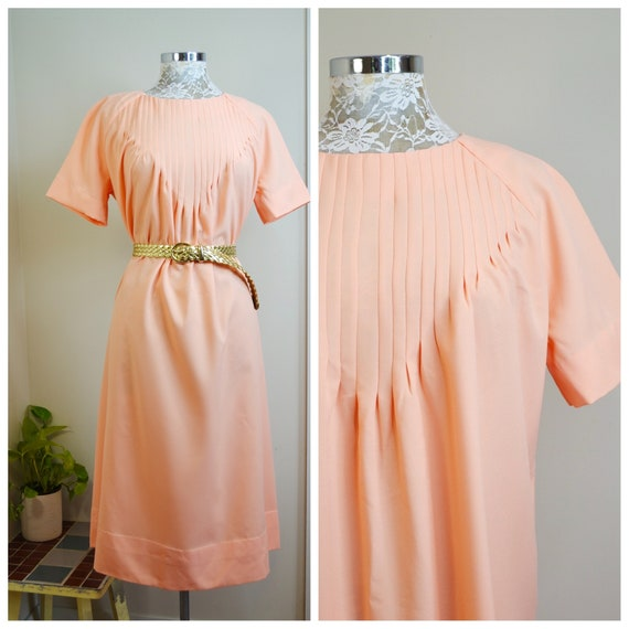Pretty in Peach MOD Moo Moo A-line Maxi Dress. 1960s Vintage Granny House Dress, Totally Handmade, Detailed Pencil Pleats on Front. Medium
