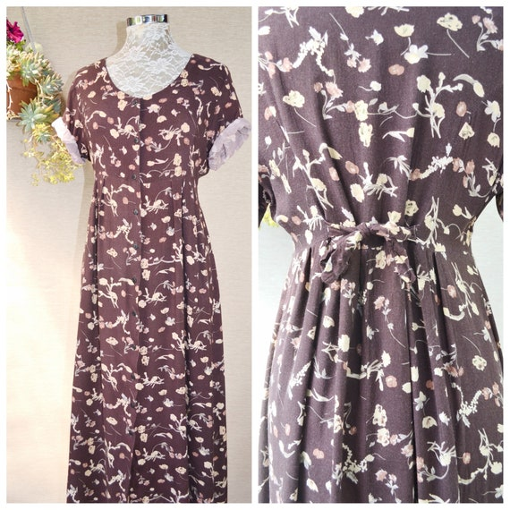 90's Floral Rayon Sun Dress in Chocolate Brown Earth Tones Mini Flowers, Empire Waist, Ankle Length, Button Front, Loose Drape - Med