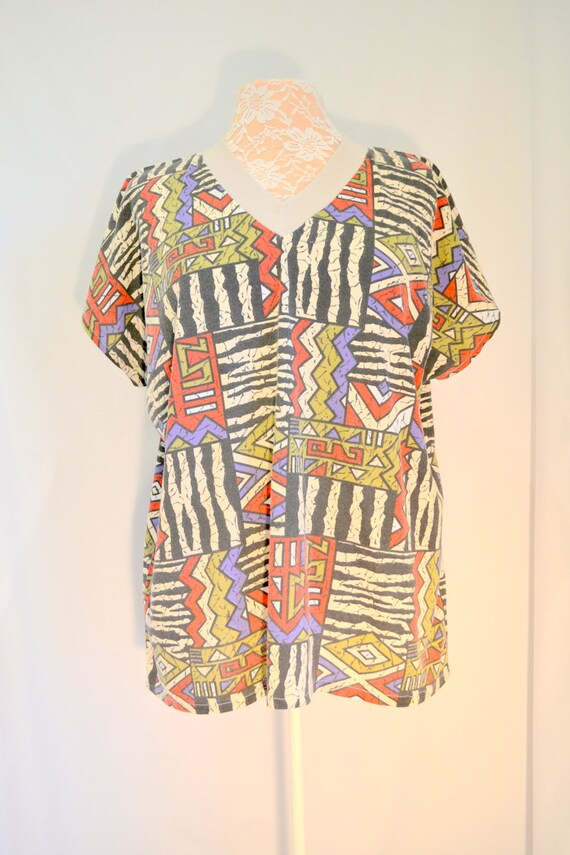 Handmade Tribal V-Neck T, Sm - Med
