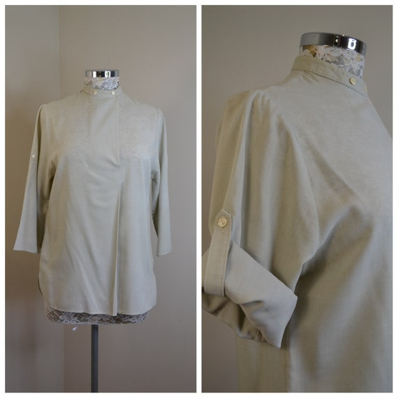 Light Sage, High Neck, 90's Loose Fit Minimal Tunic - Small