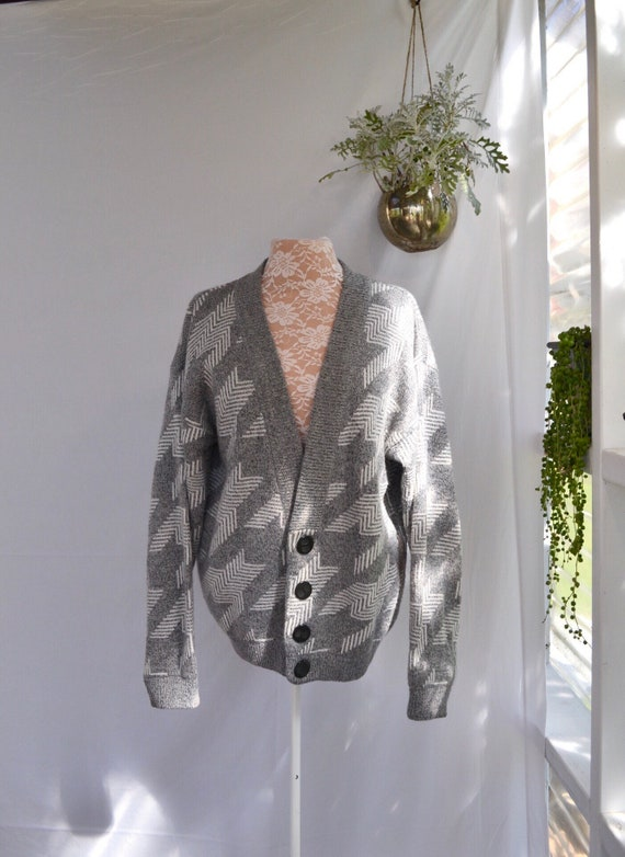 Grey & White Houndstooth Grandpa Baggy Cardigan Unisex * One Size Fits All