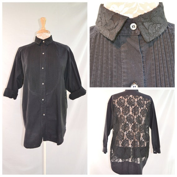 Amazing 80's Black Cotton Tuxedo Style w/ Sheer Lace Back.  Pleating & Lace Details - Baggy Long Button UP Shirt - ONE SIZE