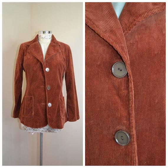 Groovy 1970s Woodstock Cotton Corduroy 3 Botton Blazer in Rich Rusty Brown - Womens Small