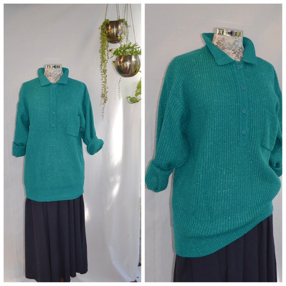 80's Preppy XLong Knit Jumper in Thin Soft Cuddly Metallic Teal Green - Fancy Casual Pullover Jumper - Small Medium