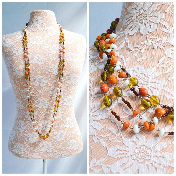 "Vintage Double Strand Necklace in Pumpkin, Opaque White, Gold & Dark Brown All Glass Beads. Long Length - 22"" - 56 cm"