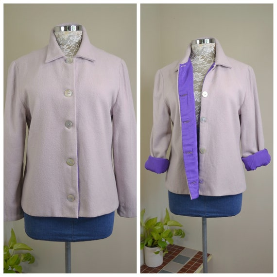 Handmade Lavender Felted Wool Jacket w/ Bright Royal Purple Lining & Shell Buttons. Lovingly Handmade Vintage Cropped Short Coat. Small
