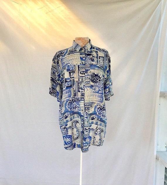 100% Silk Blue Paisley Island Style - Light & Airy - Women's Med