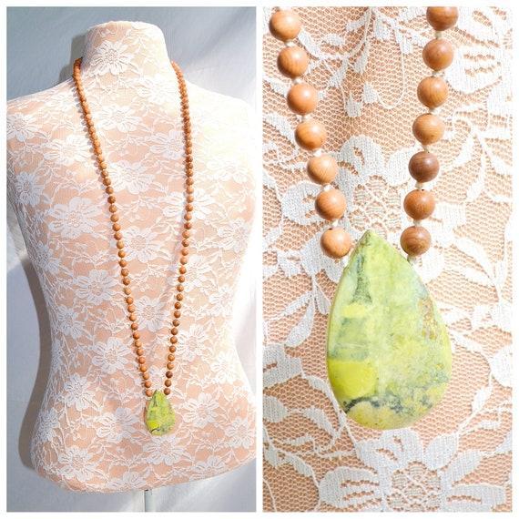 """Serpentine Teardrop - Earthy Long Wooden Beaded Necklace - Polished Light Green Serpentine Stone Pendant - 22"""" Long"""