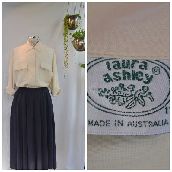Sueded Silk 90's Blouse by  Laura Ashley Australia. Eggshell Ecru - Simple Vintage Timeless Classic - 100% Silk - Buttery Cream - Med AUS 12