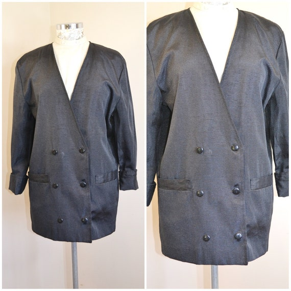 Totally 80's Canadian Double Breasted Sleek Black Blazer - Extra Long Length, Large Front Pockets, Sophisticated Style - Large
