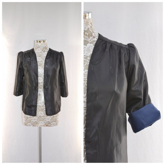80's Sleek Moire' Satin Light Dressy Jacket - Contrast Blue Sleeve Lining - Gathered Shoulders - Vintage Handmade, Simple Minimal - XS