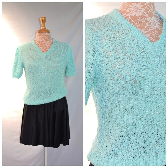 1980's Sea Foam Green Stretchy Summer Sweater.  Open Weave, Minty Fresh Toothpaste Pastel - SZ Small