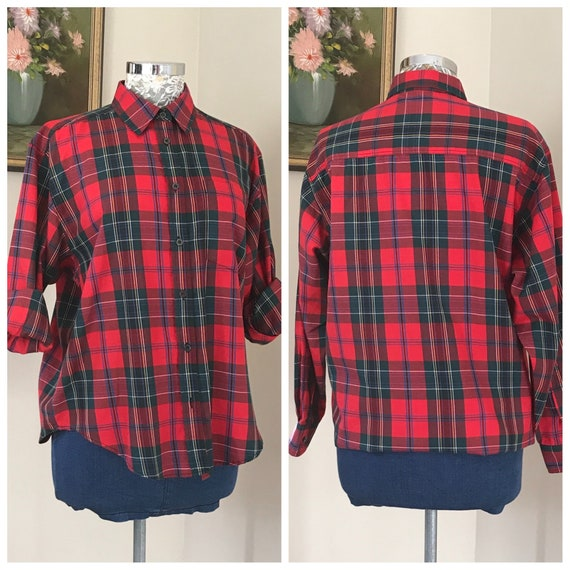 90's Plaid Mom Shirt - Classic Preppy Red & Green Loose Fit Button Up - Country Chic, Medium