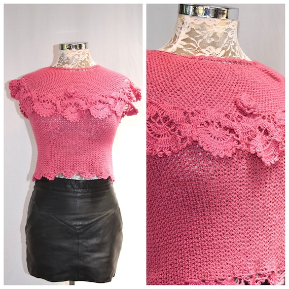 Beautiful Crochet Off the Shoulder Scalloped Sweetheart Tube Top - Stretchy Cotton Crochet w/ Lovely Details - Handmade Vintage - Small