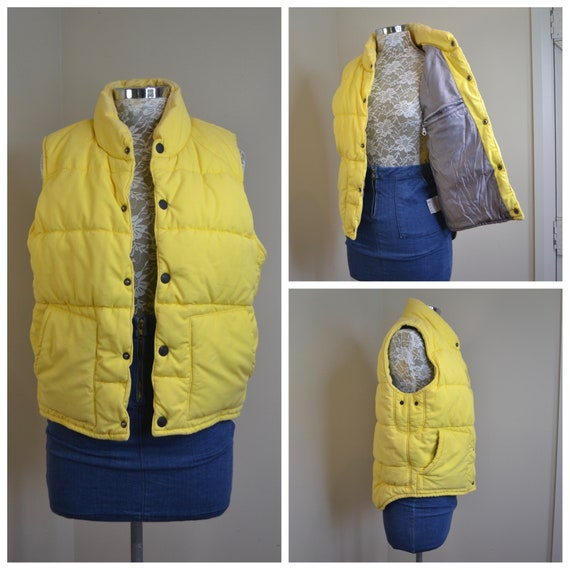 Vintage Sporty Puffer Vest in Canary Yellow & Grey Lining by Giordano - 100% Cotton, Super Comfy Warm Winter - Unisex Small