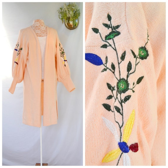 Vintage Long Peach Embroidered Sleeves - Warm & Fuzzy 50% Cotton - One Size