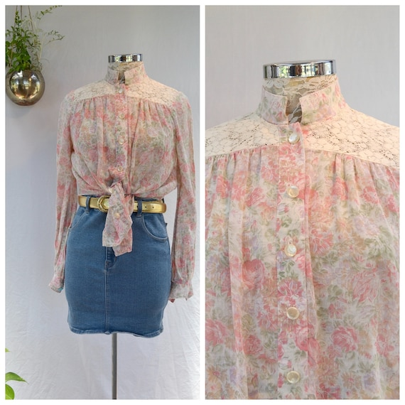 Lovely 70's Victorian Lace High Collar Sheer Cotton Blouse in Soft Pastel Pink Roses - Pearl Buttons - Roomy Loose Fit - Small