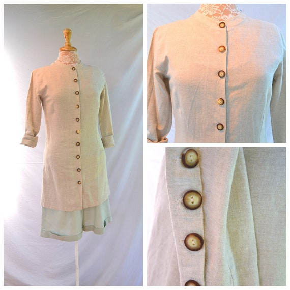 90's Tailored Natural Linen Button Front Kurta Tunic by Amazon - Beautiful Buttons, Ling Length -  Small