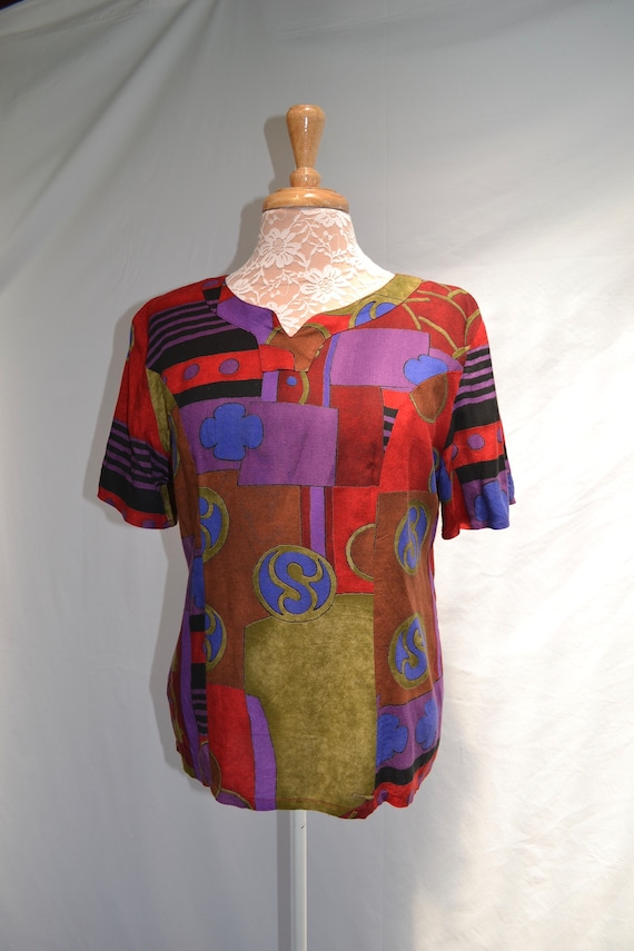 90's Abstract Jewel Tones Blouse by Sophis - Soft Rayon - Dressy Mom Top - Small
