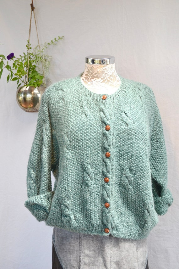 Hand Knit* Muted Teal Green Cardigan -Super Soft Baggy Cable Knit - 1980's Vintage Granny - One Size